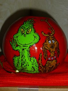 GRINCH & MAX Hand Painted GOURD BoWL VaSe Decoration  by DesignsbySugarbear, $69.99 on ETSY