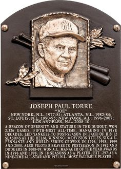 NY Yankees Joe Torre 2014 Baseball Hall Of Fame Induction Plaque Go Yankees, New York Yankees Baseball, Nationals Baseball, Baseball Star, Cardinals Baseball, Baseball Ring, Pirates Baseball, Baseball Cards, Mlb Players