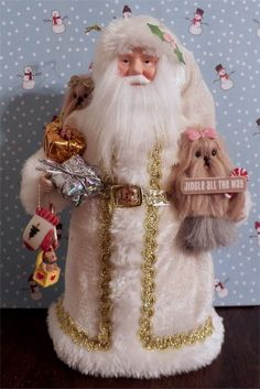 elegant Santa w/ needle felted Yorkie  dogs  Father Christmas OOAK  * CTD* #Christmas