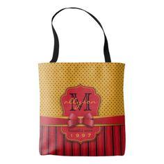 #monogram - #Trendy Monogram Retro Yellow Polka Dot Red Stripes Tote Bag