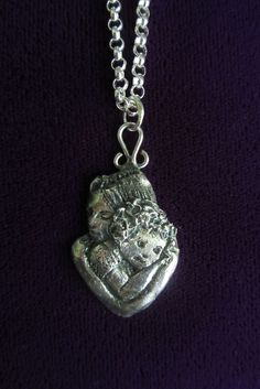 Mother and child - a silver pendant made of silver clay (Art Clay). Made by www.pinterest.com/miiairene/ Clay Ideas, Mother And Child, Clay Art, Jewelry Art, Jewelry Making, Pendant Necklace, Silver, Mother Son, Mother And Baby