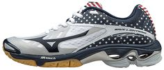 Check out the NEW Mizuno Women's Wave Lightning Z2 Shoes in the Stars and Stripes!  Inspired by the USA National Volleyball Team!  Sizes: 6-12, 13