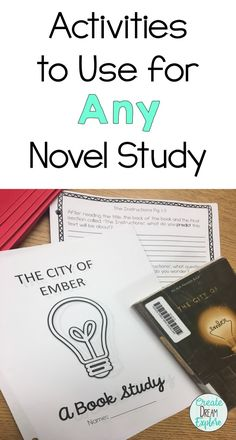 Tons of great ideas and activities for ANY novel study. Great for grades 4, 5, and 6. Many ideas for the book City of Ember as well.