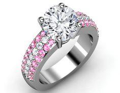 Trio Pave Pink sapphire & Diamonds Engagement ring