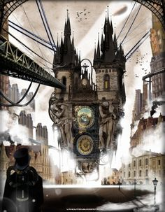 Steampunk scenery with Prague's astronomical clock - Sam Van Olffen