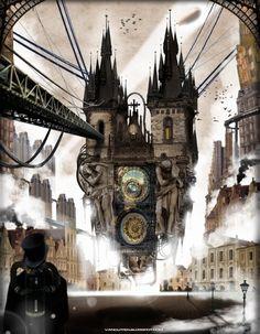 Steampunk scenery with Prague's astronomical clock - Sam Van Olffen