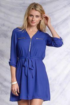 womens dress, Royal Blue Shirt Dress with Zipper Detail, dress, shop online at shoppinkluxe.com