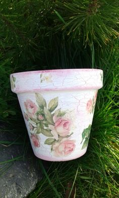 """""""The charming rose""""vintage hand painted and decoupaged.10eur"""