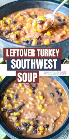 This is an easy soup recipe that is perfect for leftover Turkey. Filled with Mexican spices, beans, and tomatoes, this creamy turkey soup is delicious! Best Turkey Soup, Slow Cooker Turkey Soup, Creamy Turkey Soup, Homemade Turkey Soup, Turkey Wild Rice Soup, Ground Turkey Soup, Leftover Turkey Soup, Recipes For Leftover Turkey, Turkey Leftovers
