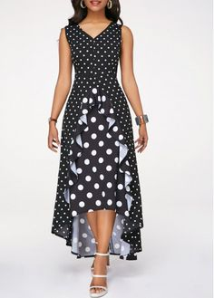 High Low Dresses Polka Dot Print Black High Low Dress - Evening Dresses and Fashion Sexy Dresses, Beautiful Dresses, Dress Outfits, Casual Dresses, Awesome Dresses, Dress Clothes, Dress Pants, African Fashion Dresses, African Dress