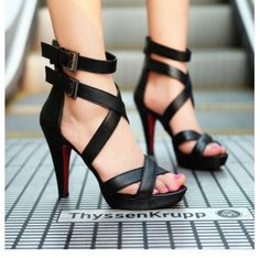 Sexy Peep Toe Hollow Out Super High-Heeled Sandals