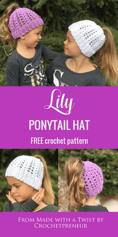 My nieces love their springtime ponytail hats! #freecrochetpattern #crochetponytailhat #crochetbunhat #messybunhat #bunbeanie #springbunhat #springcrochet #crochetforkids #freepattern #freeponytailhatpattern #ponytailhatcrochetpattern #crochetpattern #messybunhatcrochetpattern