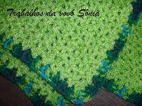 Trabalhos da vovó Sônia: Manta para bebê peludinha verde - crochê