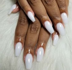 Soft white medium length coffin nails #NailsByKay414