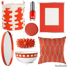 House Beautiful Color Obsession of the Week: Persimmon - includes a Surya pillow. (COM-005)