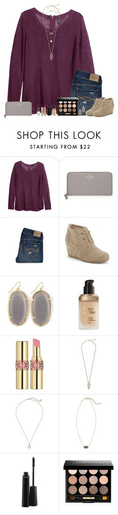 """""""Maybe I'll somehow get a chance with you."""" by bloom17 ❤ liked on Polyvore featuring H&M, Kate Spade, Abercrombie & Fitch, TOMS, Kendra Scott, Too Faced Cosmetics, Yves Saint Laurent, MAC Cosmetics, Bobbi Brown Cosmetics and OPI"""