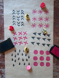 Carve your own stamps into potatoes for a cleverly crafty wrapping paper -- no…