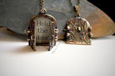 Game of Thrones Inspired Season 6 Hold the Door Necklace Hodor Locket Door Jewellery Weirwood Heart Tree Red Tree Door Hold the door quote