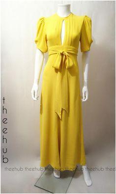 Iconic Bridget Muse Vintage 1970s Ossie Clark Split Neck Cut Out Back Gown Dress