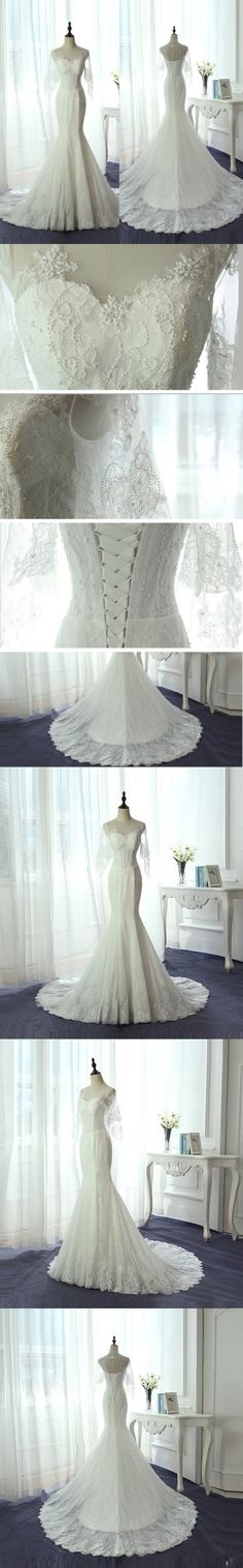 Exquisite tulle and lace wedding gown.