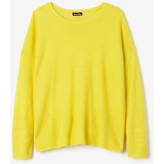 STEVEN ALAN Carroll Sweater ($206) ❤ liked on Polyvore featuring tops, sweaters, yellow, linen sweater, crewneck sweater, long sleeve pullover sweater, ribbed sweater and long sleeve pullover