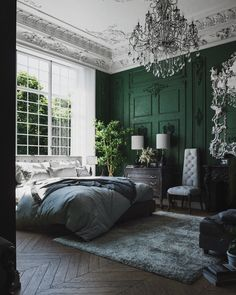 51 Green Bedrooms With Tips And Accessories To Help You Design Yours – Moldings and details – einrichtungsideen wohnzimmer Emerald Green Bedrooms, Sage Green Bedroom, Green Bedroom Decor, Bedroom Ideas, Burgundy Bedroom, Emerald Bedroom, Green Bedroom Design, Green Bedroom Walls, Green Master Bedroom