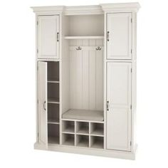 Home Decorators Collection Royce Polar White Hall Tree 7474210410 - The Home Depot Mudroom Laundry Room, Laundry Room Remodel, Laundry Room Design, Mud Room Lockers, Mud Room Garage, Mudroom Cabinets, Ikea Cabinets, Entryway Furniture, Entryway Decor