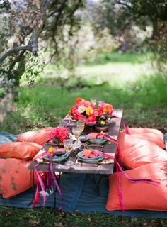 coral floor pillows at a colorful picnic