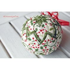 holly quilted ball ornament