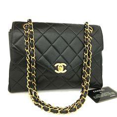 df6a9bf1a9cd CHANEL Quilted Matelasse CC Logo Lambskin w Chain Shoulder Bag Black   nEGE  x Logo