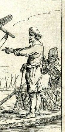 Venetian sailor, second half of the 16th century. The man is wearing a smock and venetian hoses, he's carrying an early example of a schiavona sword