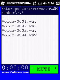 PHONETAPGSMNumber©  This program is a phone tap recorder that 'numbers' the recordings and compresses the audio in real time to GSM WAV 6.1 file format. You can play these ultra compact WAV files on your PocketPC or desktop PC. Select the storage folder to store the taps and select 'Start Record' from the toolbar to tap the phone conversation.  http://cebeans.com/phonetapgsmnumberp.htm