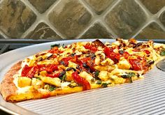 Gourmet Girl Cooks: White Pizza Topped w/ Spicy Chicken, Spinach, Roasted Tomatoes & Crispy Vidalia Onion Rings