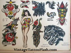 Vintage Tattoo Flash Sailor Jerry Tattoo Flash COPIES For Sale ...