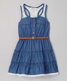 Look at this #zulilyfind! Blue Denim & Lace Sleeveless Shirt Dress - Toddler & Girls by Littoe Potatoes #zulilyfinds