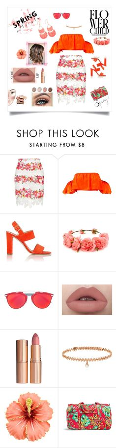 """""""Orange Floral"""" by miretha ❤ liked on Polyvore featuring Topshop, Manolo Blahnik, Forever 21, Christian Dior, Charlotte Tilbury, BERRICLE, Vera Bradley and Terre Mère"""
