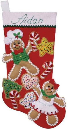Design Works Gingerbread Friends Christmas Stocking - Felt Applique Kit. This Felt Applique Kit Includes: felt, sequins, beads, cotton floss, one needle, patter