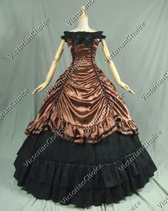 Southern Belle Civil War Brown and Black Period Dress Ball Gown Reenactment Costume