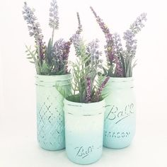PLEASE READ FULL ITEM DESCRIPTION BEFORE PURCHASING  This dusty blue and mint mason jar trio is perfect touch to your wedding, home or party!