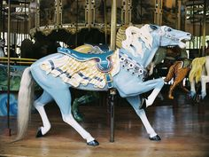 This horse is blue and I love it!  Fierce stance in this Golden Gate Park carousel horse by Herschell-Spillman.