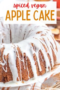 This delicious spiced vegan apple cake recipe is incredibly moist and flavorful! Filled with cinnamon, nutmeg, vanilla, apples and walnuts! #veganapplecake #vegancakerecipes #vegancake #veganapplecakerecipes #veganbundtcake Healthy Vegan Desserts, Vegan Dessert Recipes, Delicious Vegan Recipes, Raw Food Recipes, Vegan Apple Cake, Apple Cake Recipes, Vegan Cake, Bundt Cake Pan, Vegan Comfort Food