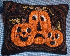primitive christmas tree punch needle | Primitive Needle Punch Pillow Pin Keep Fall Pumpkins
