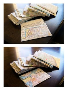 make envelopes out of an old atlas. use an envelope you have on hand as a template.