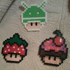 Mario mushrooms perler beads by venuskatha