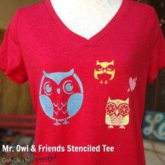 Owl & Friends stenciled t-shirt