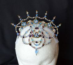 Crystal and Glass Beaded Professional Ballet Headpiece. Dewdrop Fairy. For dance, performance and stage.