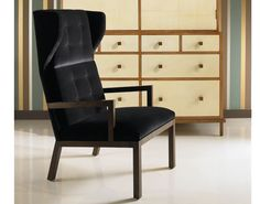"Whitby Chair Gothic-inspired contemporary armchair with wooden arms and upholstered seat and back. Buttoning is optional.  W24"" x D31"" x H45"" Seat: H18"" / Arm: H23.5"" / COM: 5 yards"