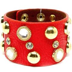 Red Faux leather bracelet with gold and diamond accents.