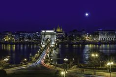 The Chain Bridge over the River Danube in Budapest Hungary on a beautiful moonlit night Moon River, Blue Moon, Tower Bridge, Marina Bay Sands, Building, Project 365, Budapest Hungary, Photography, Miraculous