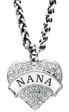 Mother's Day Gift for Nana Engraved Nana Crystal Adorned Heart Shaped Pendant Wheat Chain Necklace Nana -- More info could be found at the image url.